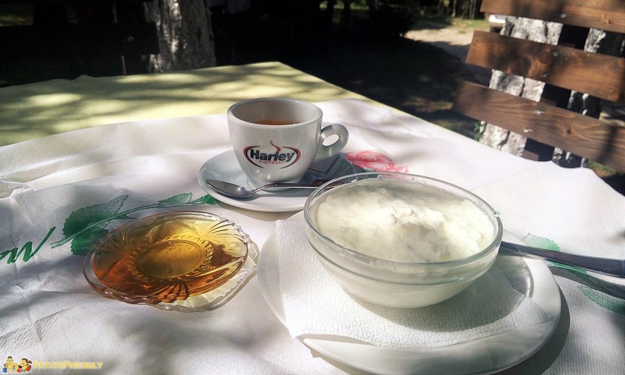 Viaggio in Albania: cosa mangiare - Tipica colazione albanese...caffè, miele e yogurt di capra freschissimo