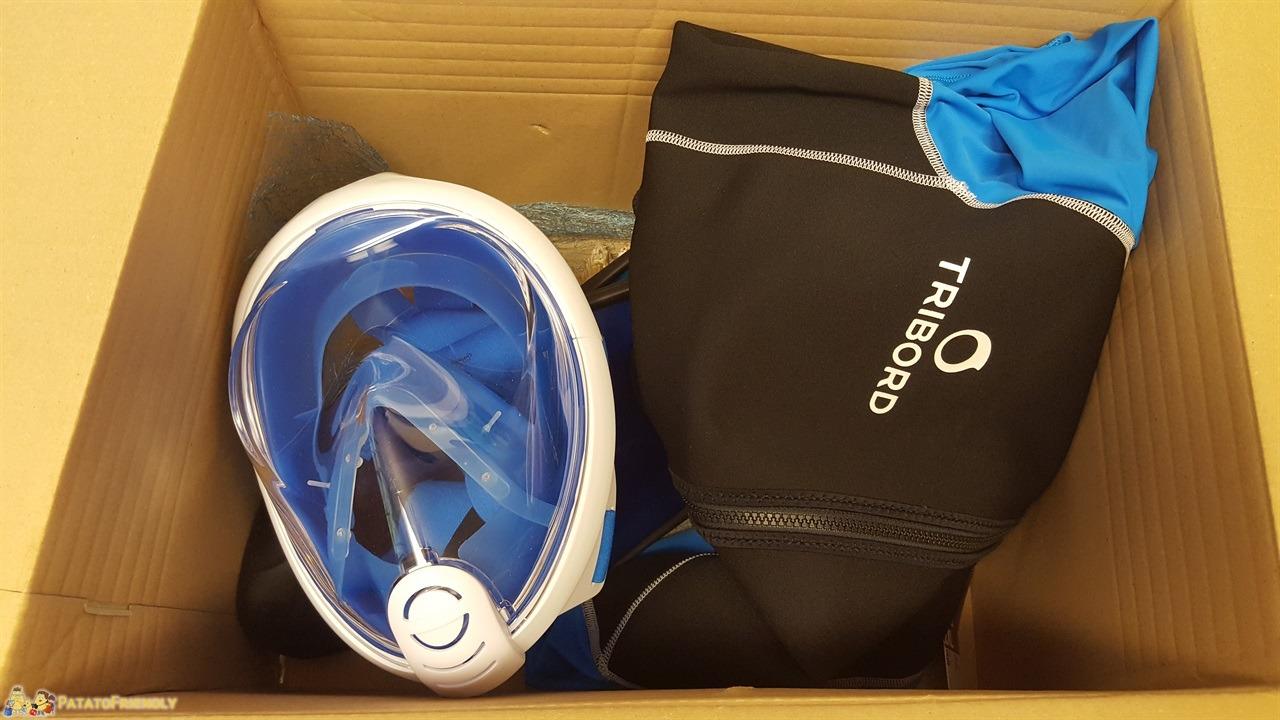 La maschera Easybreath di Decathlon, tuta Triboard e pinne