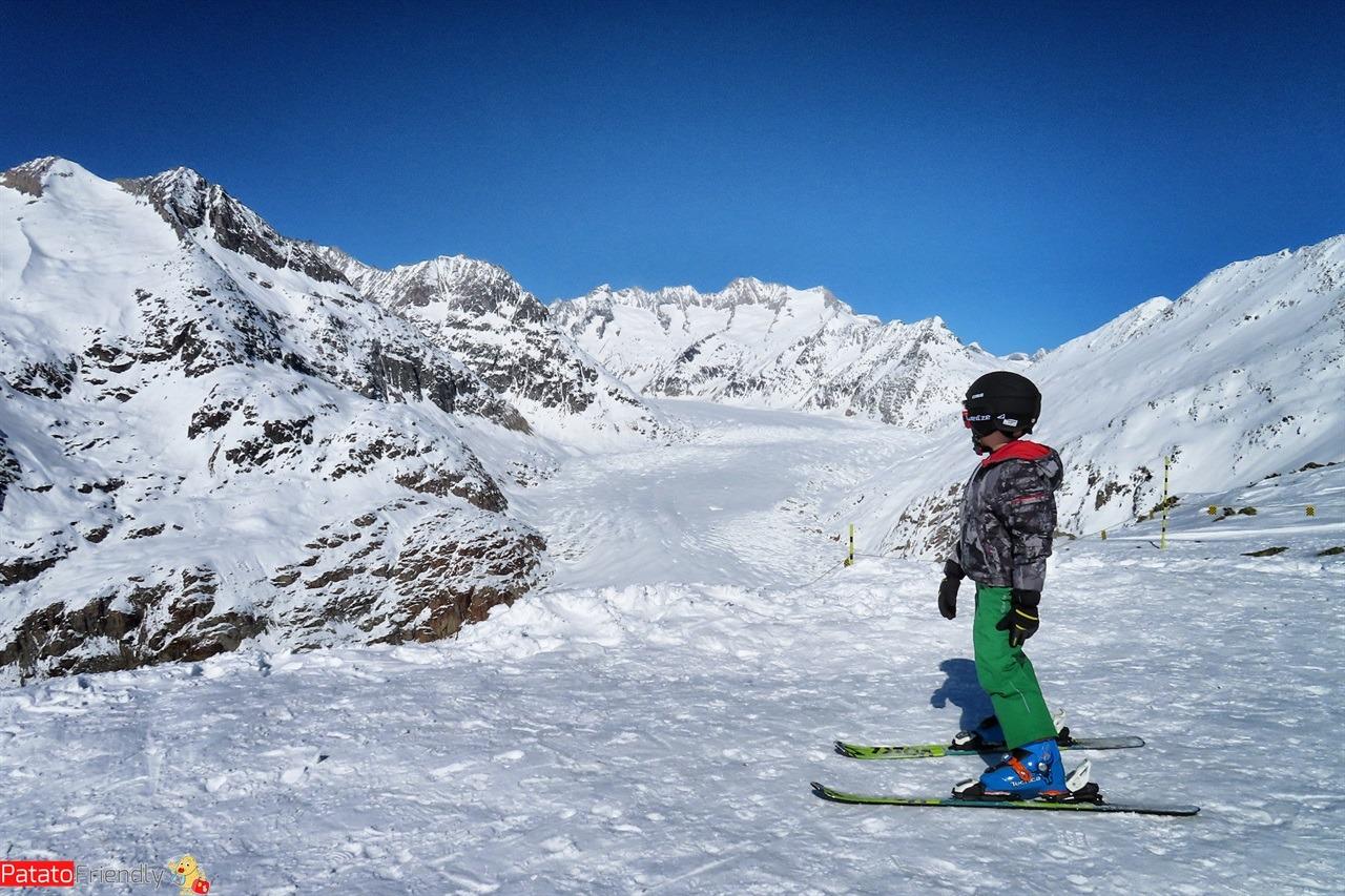 Alestch Arena Vallese sciare con i bambini a Riederalp