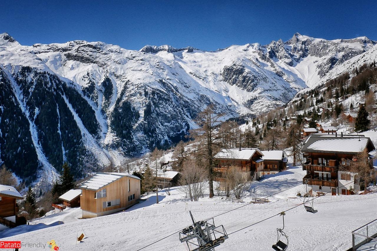 Bellwald sciare in Svizzera in Vallese in inverno