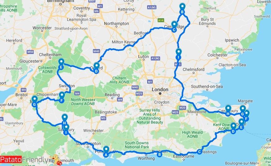 Itinerario in UK mappa Inghilterra del sud