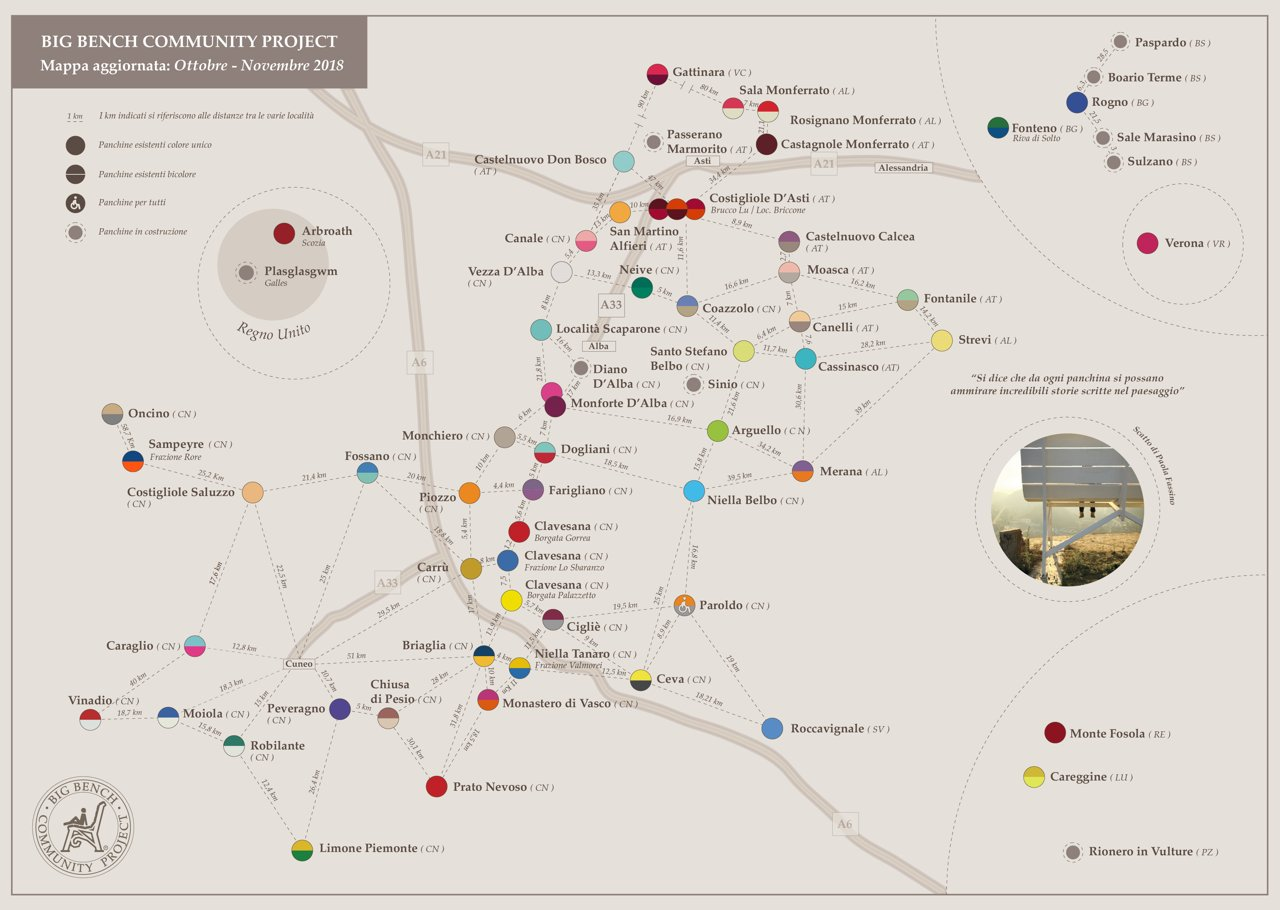 Mappa Big Bench Community Project - la mappa delle panchine giganti delle Langhe