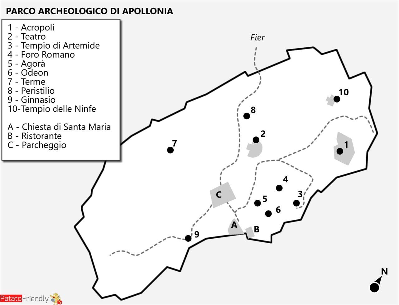 Mappa Parco Archeologico Apollonia - Albania